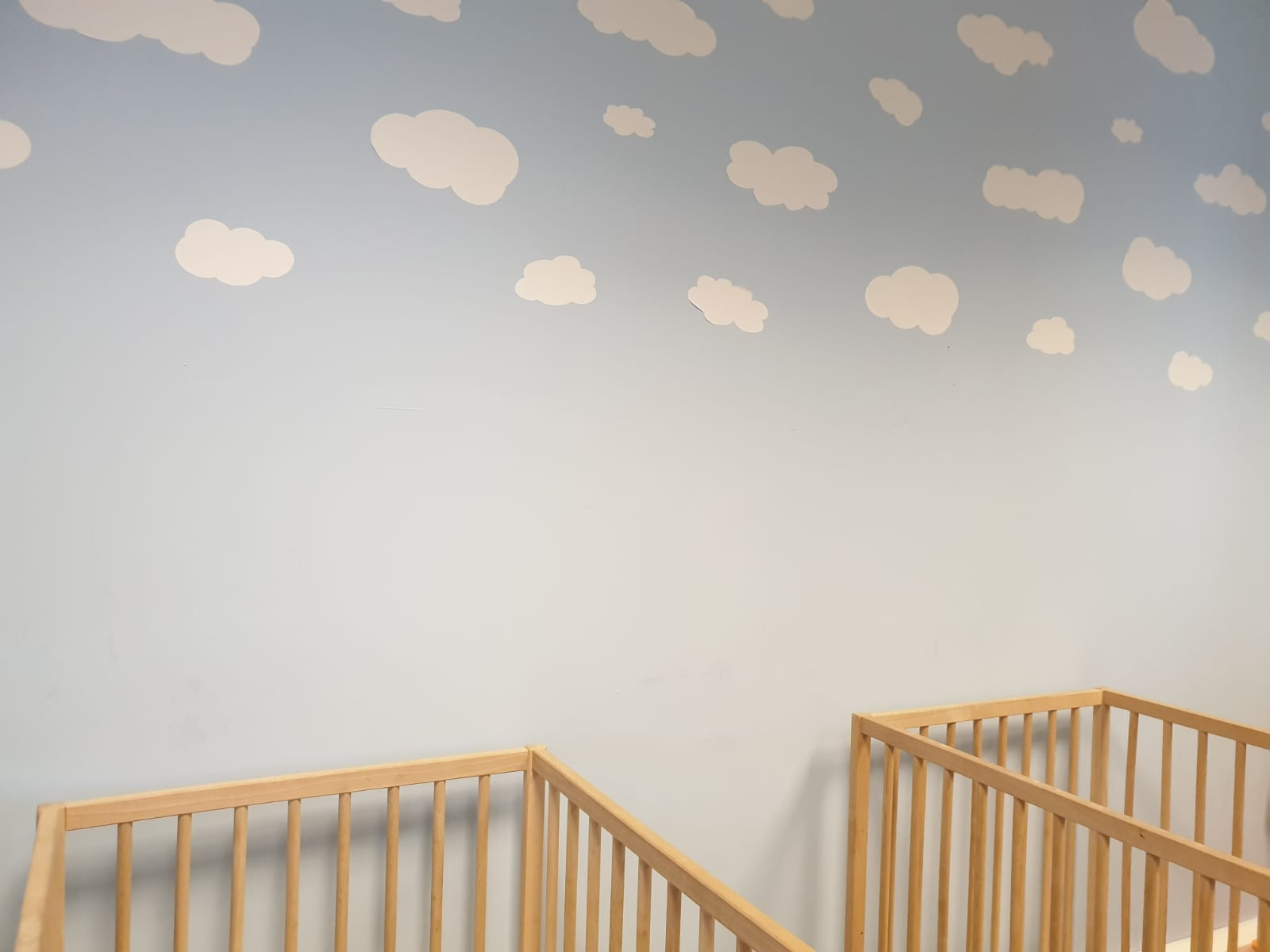 Baby sleep room with clouds